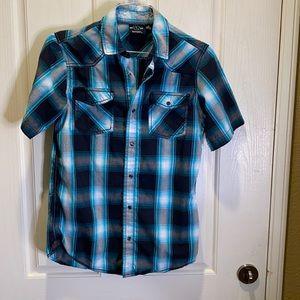 Burnside Plaid Short Sleeve Shirt, Sz S